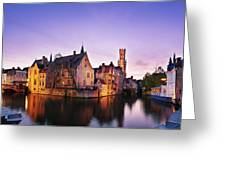 Bruges At Dusk Greeting Card by Barry O Carroll