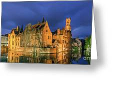 Bruges At Night, Belgium Greeting Card