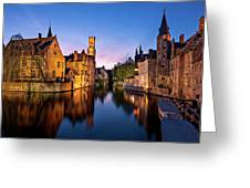 Bruges Canals At Blue Hour Greeting Card by Barry O Carroll