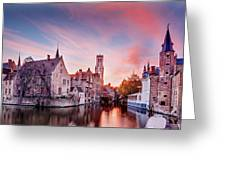 Bruges Sunset Greeting Card by Barry O Carroll