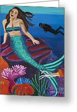 Brunette Mermaid With Turquoise Tail Greeting Card