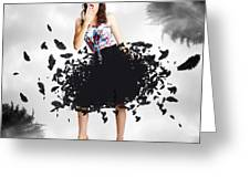 Brunette Pin-up Woman In Gorgeous Feather Skirt Greeting Card