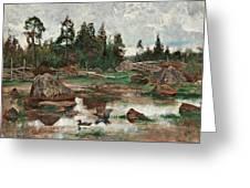 Bruno Liljefors,   Landscape From Uppland. 2 Greeting Card