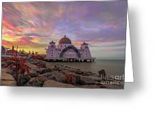 Brush Stroke Cloud Over Selat Mosque Greeting Card