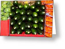 Brussel Sprouts , Cucumbers And Carrots Greeting Card
