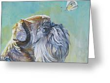 Brussels Griffon With Butterfly Greeting Card