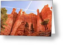 Bryce Canyon Hoodoos With Contrails Greeting Card