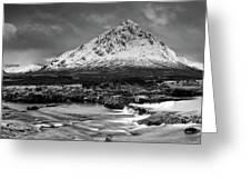 Buachaille Winter Panorama Mono Greeting Card