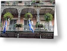 Bubbles Blow From An Ornate Balcony In New Orleans At Mardi Gras Greeting Card