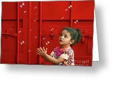 Bubbling Girl Greeting Card