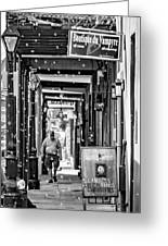Bubbly French Quarter - Bw Greeting Card