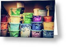 Buckets Of Liquid Paint Standing In A Workshop. Greeting Card