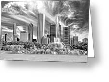 Buckingham Fountain Skyscrapers Black And White Greeting Card