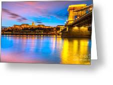 Budapest - Chain Bridge And Buda Castle -  Hungary Greeting Card