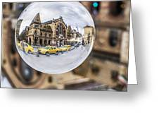 Budapest Globe - Great Market Hall Greeting Card