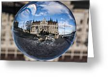 Budapest Globe - Houses Of Parliament Greeting Card