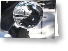 Budapest Globe - Statue Of Jozsef Attila Greeting Card