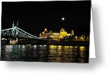 Budapest On The Danube At Night Greeting Card
