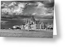 Budapest Parliament From The Chain Bridge Greeting Card