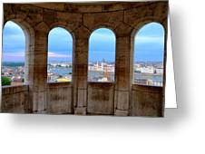 Budapest Parliament From The Fishermans Bastion Greeting Card