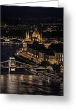 Budapest View At Night Greeting Card