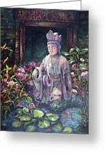 Budda Statue And Pond Greeting Card