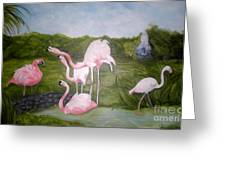 Buddah And The Flamingos Greeting Card