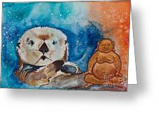 Buddha And The Divine Otter No. 1374 Greeting Card