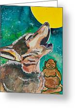 Buddha And The Divine Wolf No. 1370 Greeting Card