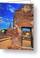 Buddha Doorway At Wat Worachetha Ram In Ayutthaya, Thailand Greeting Card