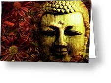 Buddha In Red Chrysanthemums Greeting Card