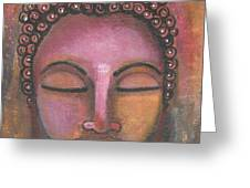 Buddha In Shades Of Purple Greeting Card by Prerna Poojara