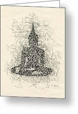 Buddha Pen And Ink Drawing Greeting Card