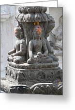 Buddha Statue At Temple - Swayambunat  Greeting Card