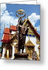 Buddha Statue With Sunshade Outside Temple Hat Yai Thailand Greeting Card