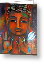 Buddha With A White Lotus In Earthy Tones Greeting Card by Prerna Poojara