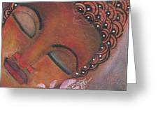 Buddha With Pink Lotus Greeting Card by Prerna Poojara