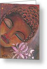 Buddha With Pink Lotus Greeting Card