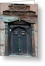 Buddha's Eyes On Nepalese Wooden Door Greeting Card