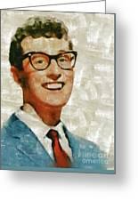Buddy Holly By Mary Bassett Greeting Card