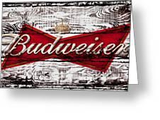 Budweiser Wood Art 5a Greeting Card