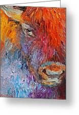 Buffalo Bison Wild Life Oil Painting Print Greeting Card