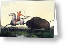 Buffalo Hunt, 1832 Greeting Card
