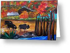 Buffalos In Lost Maples Greeting Card