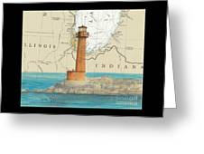 Buffington Harbor Lighthouse In Nautical Chart Map Greeting Card