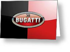 Bugatti 3 D Badge On Red And Black  Greeting Card