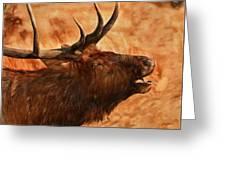 Bugling Bull Elk Autumn Background Greeting Card