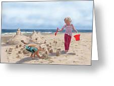 Builders On The Beach Greeting Card