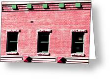 Building In Red And Green Greeting Card