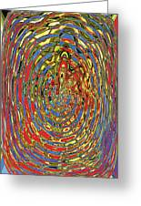 Building Of Circles And Waves Colored Yellow Red And Blue Greeting Card